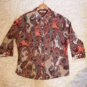 Alia Paisley Plus Size Button Down Shirt